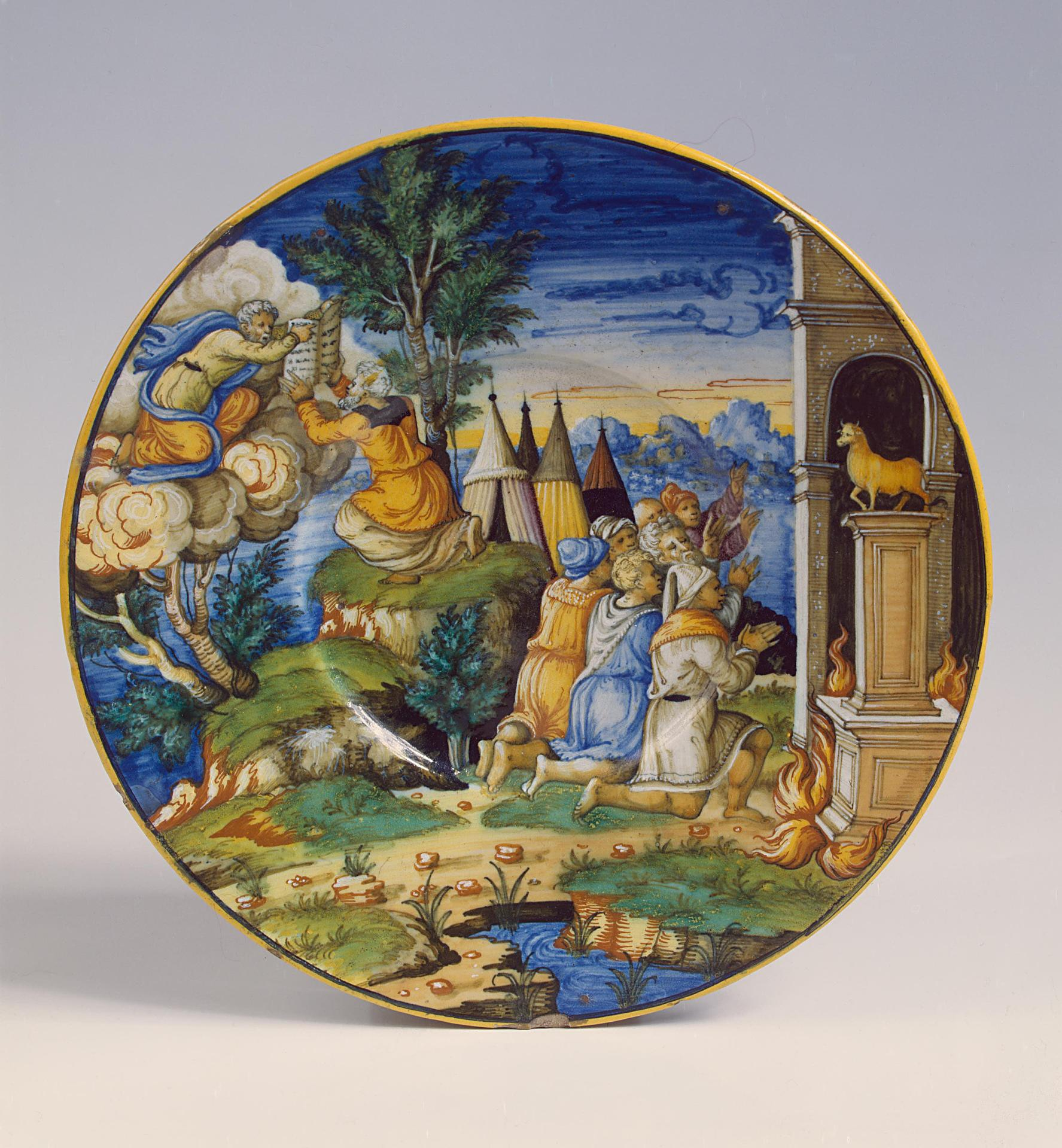 Plate: Moses receives the tablets from God, Italy, 1551, majolica