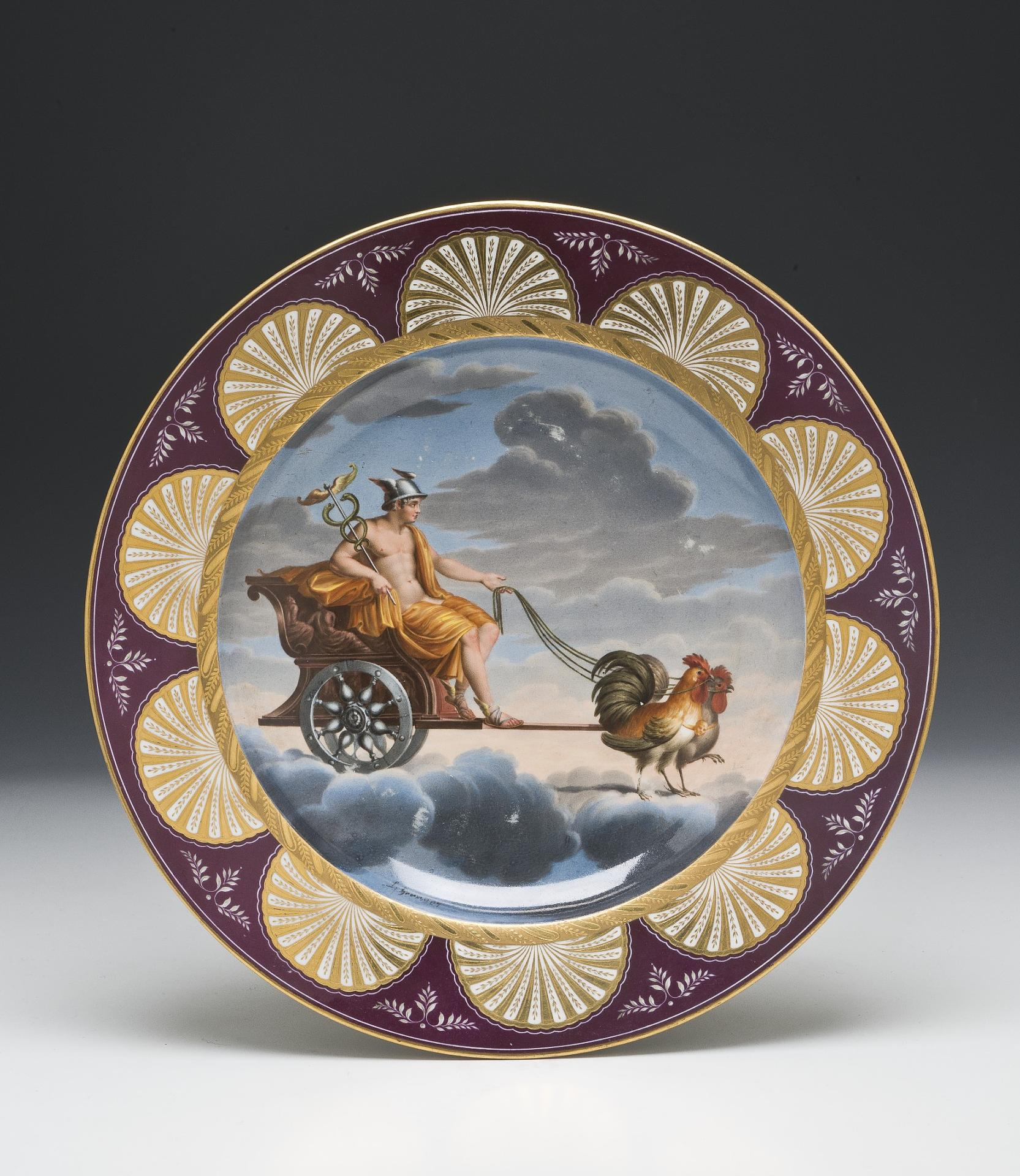 Plate: Allegory of the planet Mercury, Austria, XIX century, solid porcelain