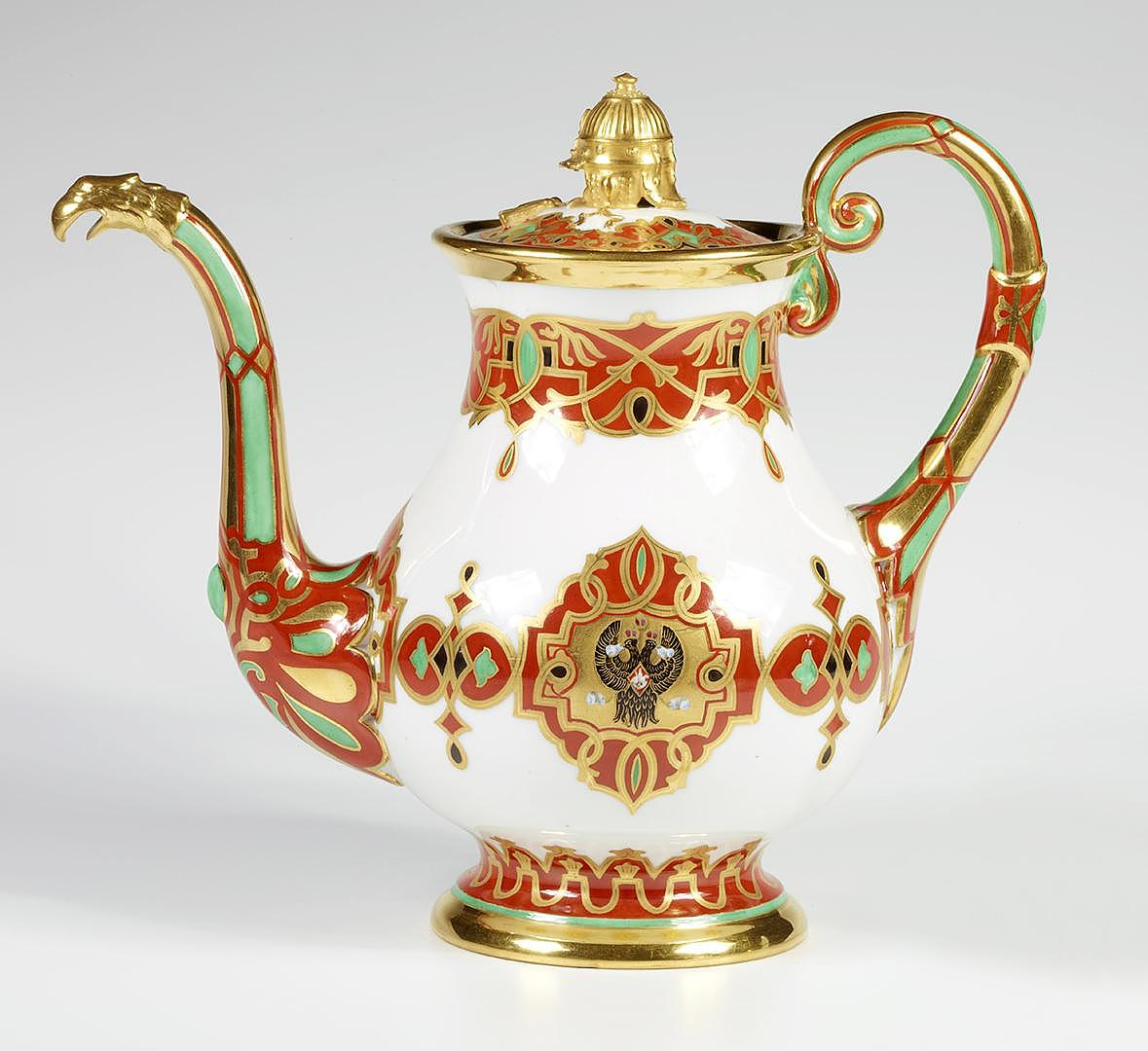 Coffee pot with lid, Service of Grand Duke Konstantin Nikolaevich, porcelain, overglaze painting, gilding